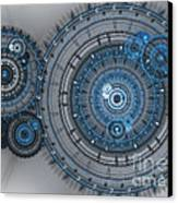 Blue Clockwork Machine Canvas Print
