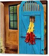 Blue Door And Peppers Canvas Print by Jeff Kolker