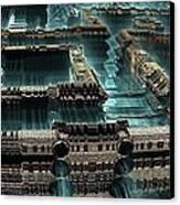 Blue Future City Canvas Print by Bernard MICHEL