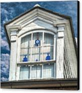 Blue Glass In Window Canvas Print by Brenda Bryant