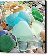 Blue Green Sea Glass Beach Coastal Seaglass Canvas Print by Baslee Troutman