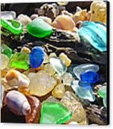 Blue Green Seaglass Art Prinst Agates Shells Canvas Print by Baslee Troutman