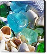 Blue Green Seaglass Shells Coastal Beach Canvas Print by Baslee Troutman
