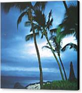 Blue Hawaii With Planets At Night Canvas Print by Connie Fox