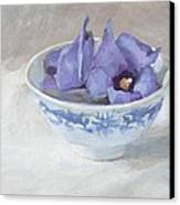 Blue Hibiscus Flower In Chinese Cup Canvas Print by Anke Classen