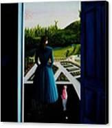Blue Lady Thru The Door Canvas Print
