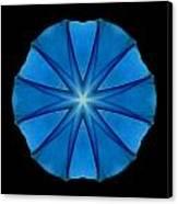 Blue Morning Glory Flower Mandala Canvas Print