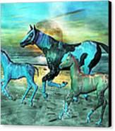 Blue Ocean Horses Canvas Print by Betsy Knapp