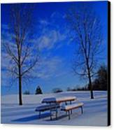 Blue On A Snowy Day Canvas Print