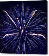 Blue Orange Fireworks Galveston Canvas Print by Jason Brow
