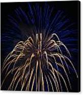 Blue Over Orange Fireworks Galveston Canvas Print by Jason Brow