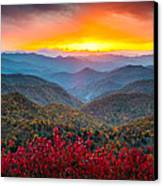 Blue Ridge Parkway Autumn Sunset Nc - Rapture Canvas Print by Dave Allen