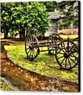 Blue Ridge Parkway Vintage Wagon In The Rain II Canvas Print by Dan Carmichael