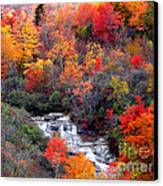 Blue Ridge Parkway Waterfall In Autumn Canvas Print by Crystal Joy Photography
