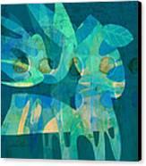 Blue Square Retro Canvas Print by Ann Powell