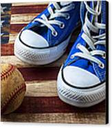 Blue Tennis Shoes And Baseball Canvas Print