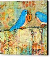 Bluebird Painting - Art Key To My Heart Canvas Print