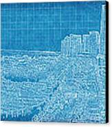 Blueprint Of Downtown Miami Canvas Print by Joe Myeress