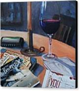 Blues And Wine Canvas Print by Donna Tuten