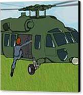 Boarding A Helicopter Canvas Print