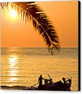 Boat At Sea Sunset Golden Color With Palm Canvas Print