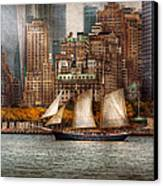 Boat - Governors Island Ny - Lower Manhattan Canvas Print by Mike Savad