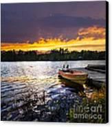Boat On Lake At Sunset Canvas Print