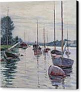 Boats Anchored On The Seine Canvas Print by Gustave Caillebotte