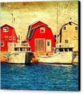 Boats And Boat Houses Pei Photograph  Canvas Print by Laura Carter