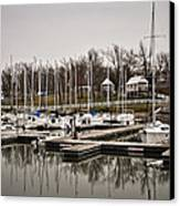 Boats And Cottages On Overcast Day Canvas Print by Greg Jackson