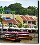 Boats At Clarke Quay Singapore River Canvas Print