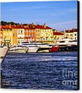 Boats At St.tropez Harbor Canvas Print by Elena Elisseeva