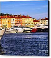 Boats At St.tropez Harbor Canvas Print by Elena Elisseeva