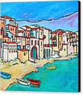 Boats In Front Of Buildings Viii Canvas Print by Xueling Zou