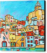 Boats In Front Of The Buildings Vii Canvas Print by Xueling Zou