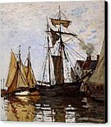 Boats In The Port Of Honfleur Canvas Print by L Brown