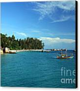 Boats With Beautiful Sea Canvas Print by Boon Mee