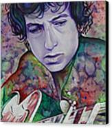 Bob Dylan-pink And Green Canvas Print by Joshua Morton