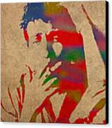 Bob Dylan Watercolor Portrait On Worn Distressed Canvas Canvas Print by Design Turnpike