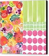 Boho Garden Patchwork- Floral Painting Canvas Print by Linda Woods