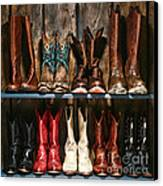Boot Rack Canvas Print by Olivier Le Queinec