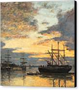 Bordeaux In The Harbor Canvas Print by Eugene Louis Boudin