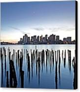 Boston Harbor Skyline With Ica Canvas Print by Juergen Roth