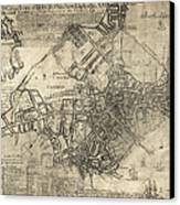 Boston Of British Dominion Map  1769 Canvas Print