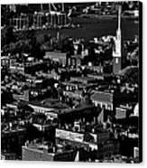 Boston Old North Church Black And White Canvas Print