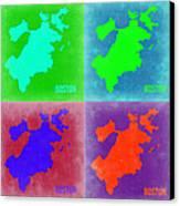 Boston Pop Art Map 2 Canvas Print by Naxart Studio