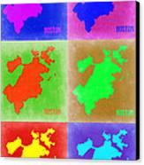 Boston Pop Art Map 3 Canvas Print by Naxart Studio