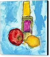 Bottle Apple And Lemon Canvas Print by Skip Nall