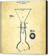 Bottle Neck Patent From 1891 - Vintage Canvas Print