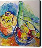 Bottle With Fruits Canvas Print by Vladimir Kezerashvili